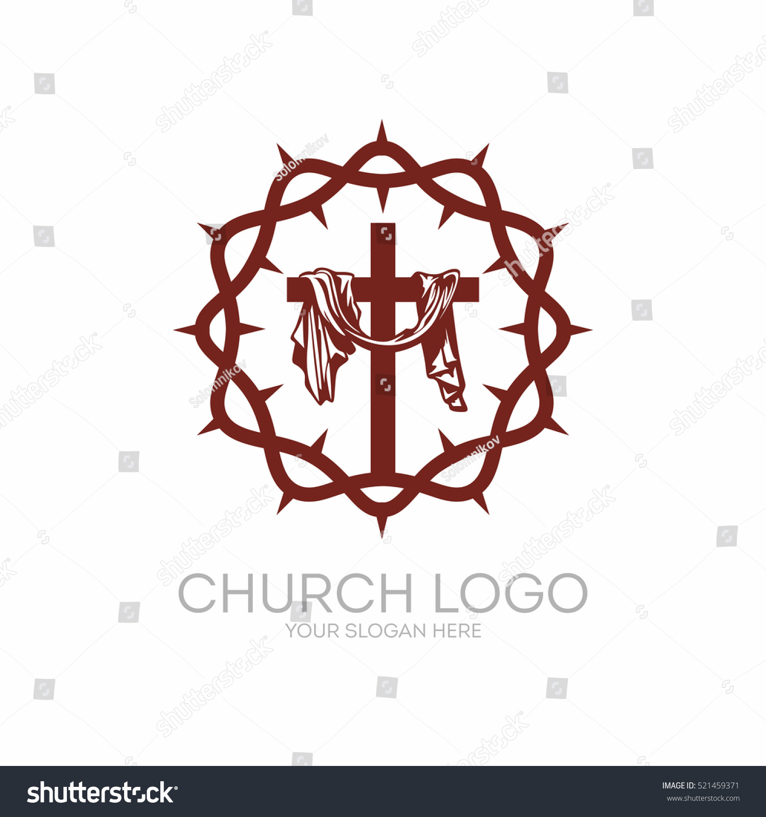 Church logo christian symbols crown thorns stock vector 521459371 christian symbols crown of thorns savior jesus christ and the cross at buycottarizona Gallery