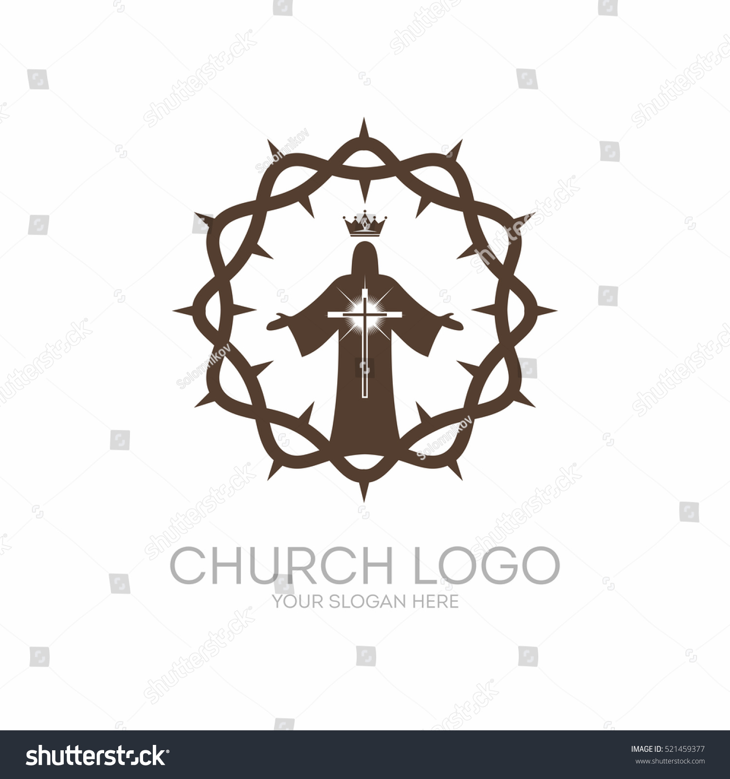 Church logo christian symbols crown thorns stock vector 521459377 christian symbols crown of thorns the savior and king jesus buycottarizona Gallery