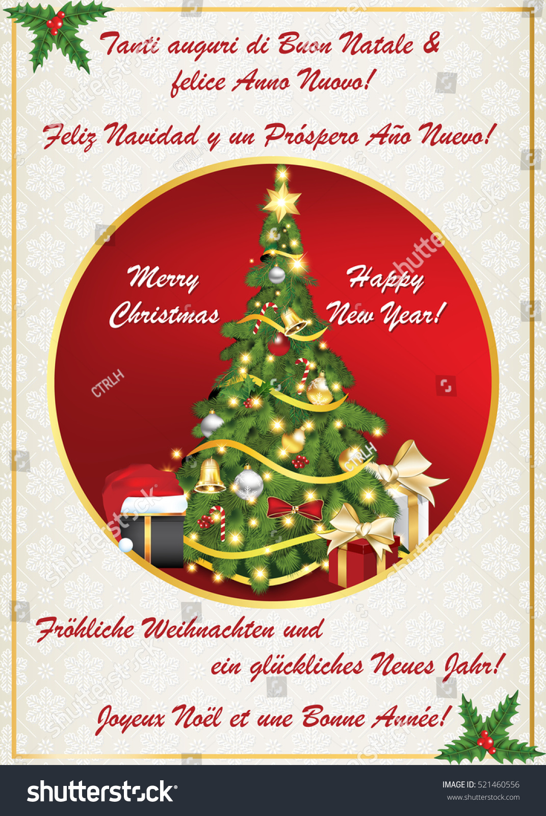 Multilanguage classic winter holiday greeting card stock multilanguage classic winter holiday greeting card merry christmas and happy new year italian m4hsunfo