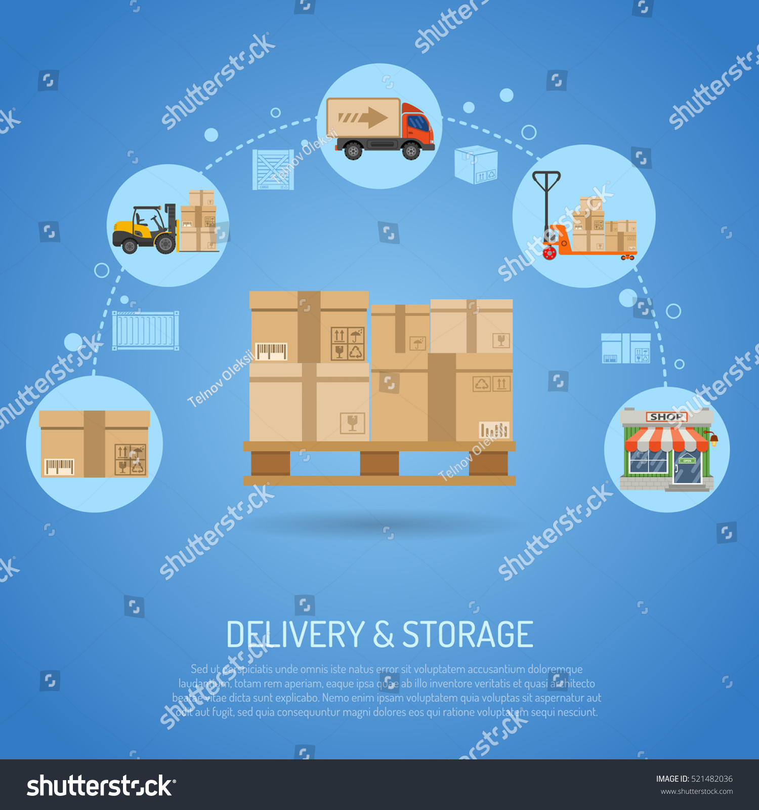 Delivery And Storage Concept Infographics With Flat Icons Pallet With Boxes  And Delivery Process In Store