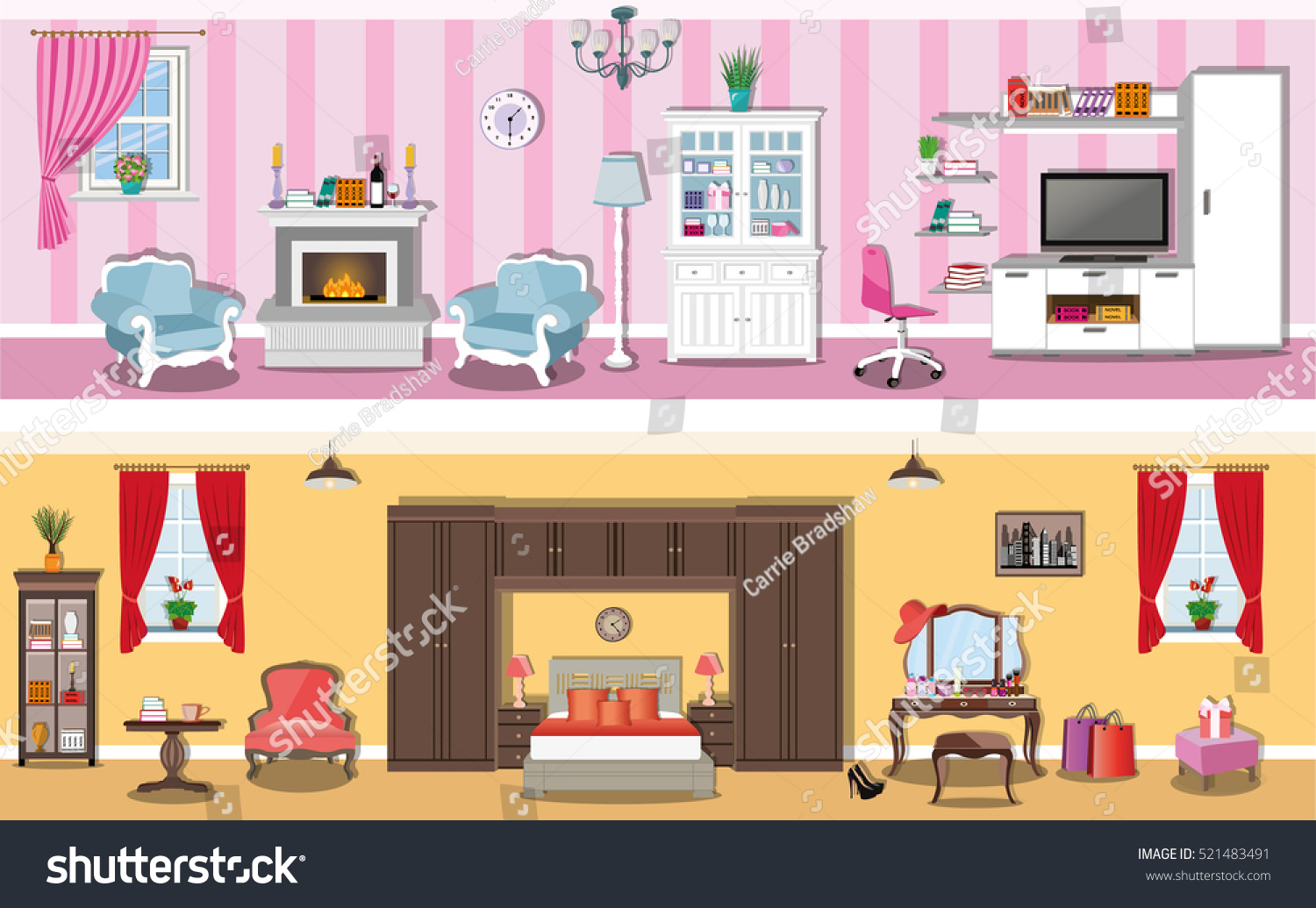 Set Of Modern Interior Design House Rooms With Furniture Icons