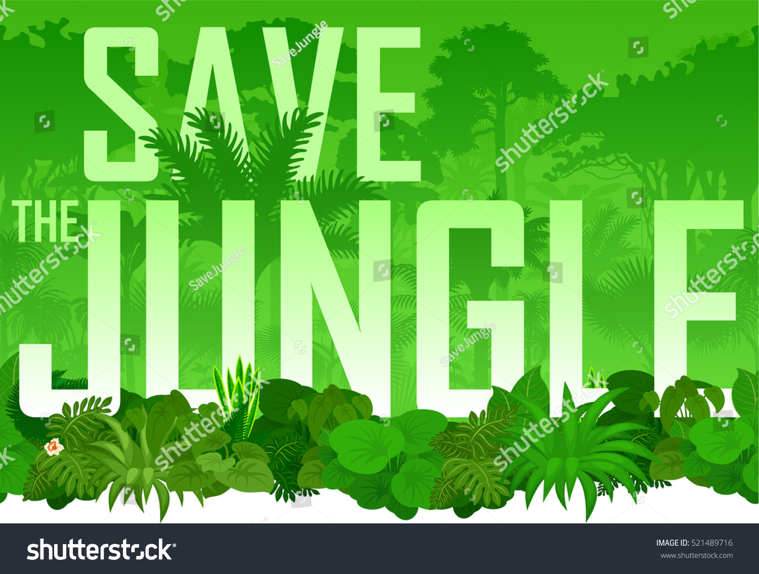Vector seamless horizontal tropical rainforest Jungle background