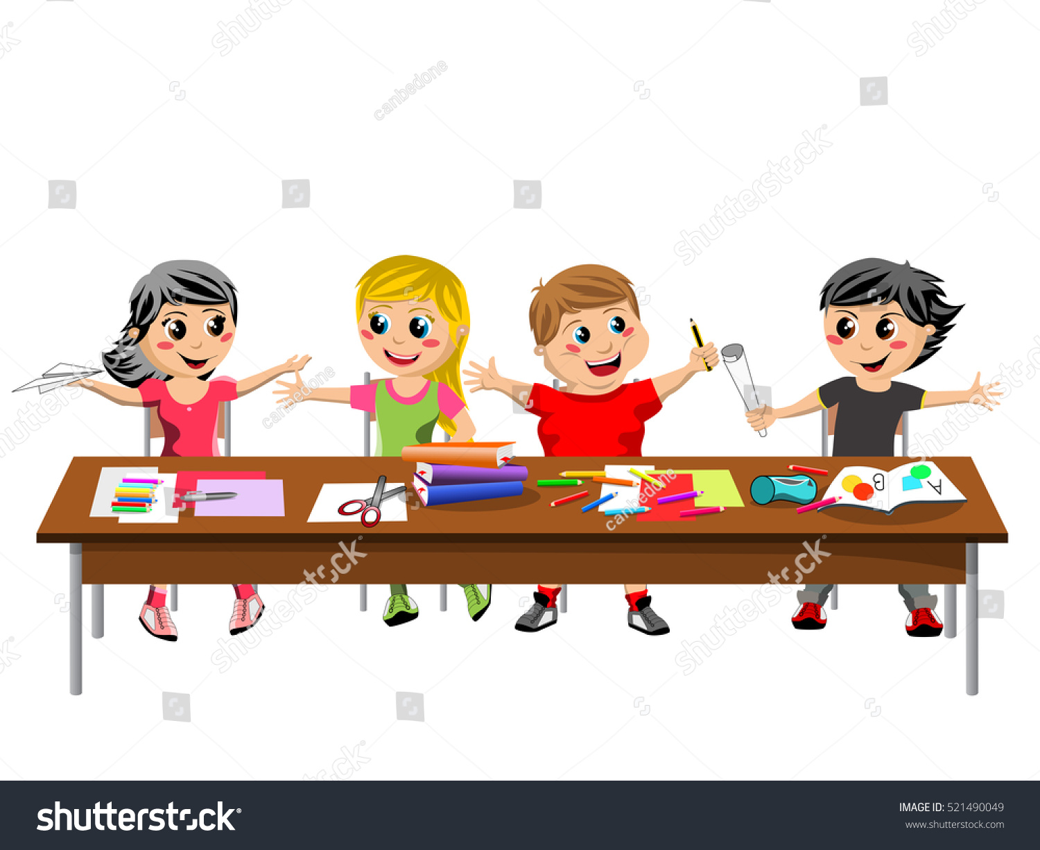 kids at classroom table. happy brat kids or children sitting and playing at desk school isolated classroom table e