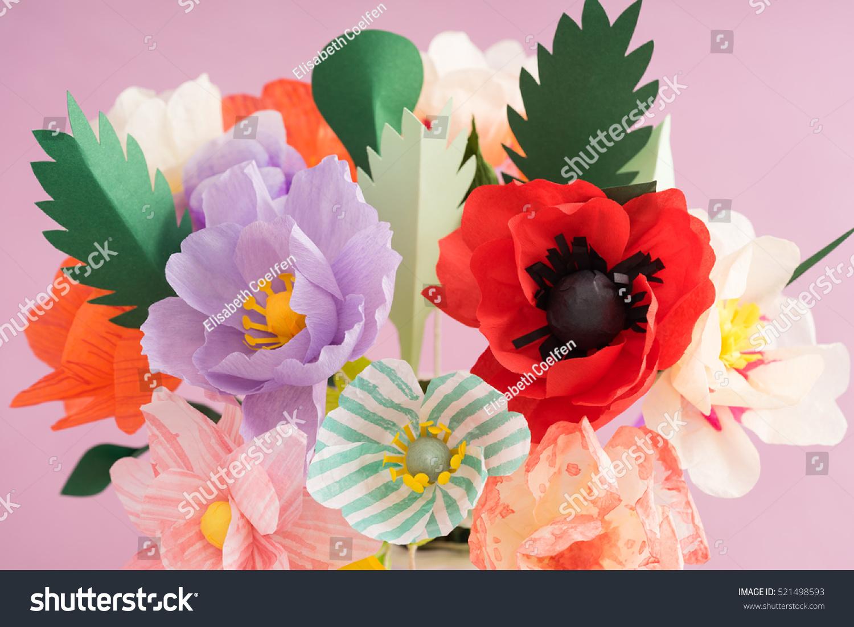 Bouquet Handmade Paper Flowers Vase Stock Photo Royalty Free
