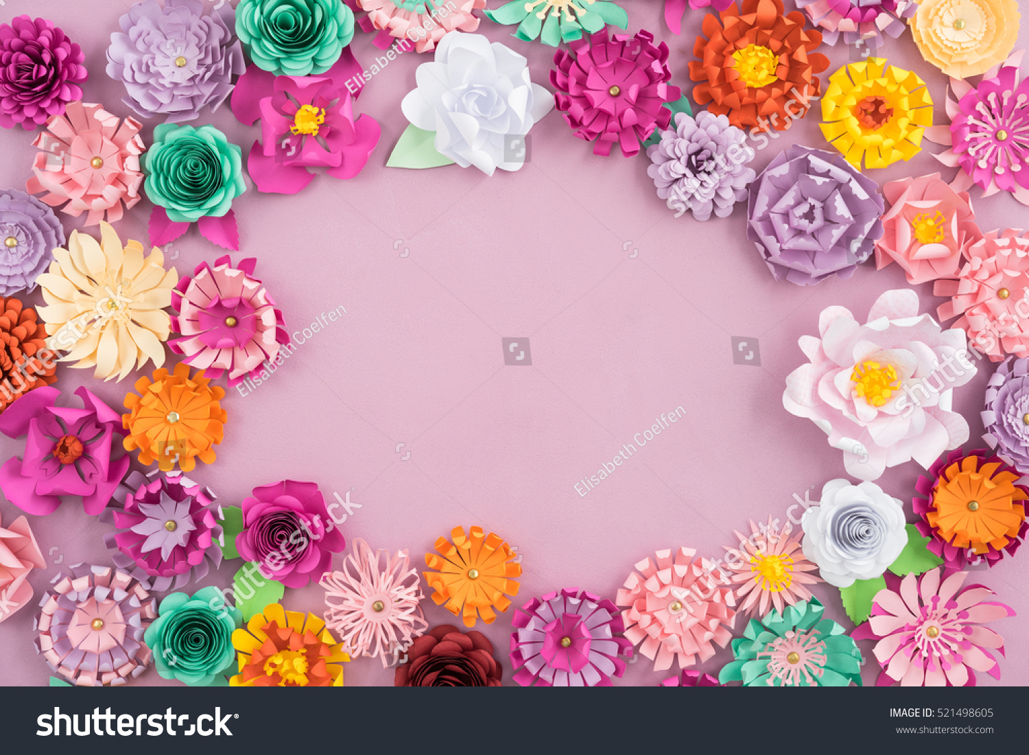 Colourful Handmade Paper Flowers On Pink Stock Photo Edit Now