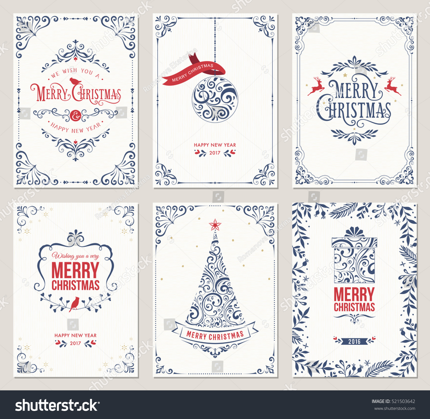 Ornate vertical winter holidays greeting cards with New Year tree, gift box, Christmas ornaments and typographic design.Vector illustration. #521503642