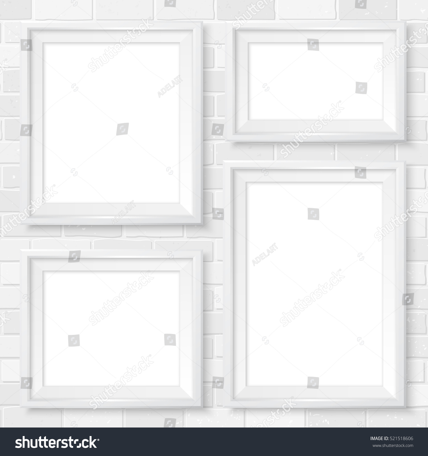 modern white picture frames. frames wall gallery on white brick wall. modern picture mock up. empty i