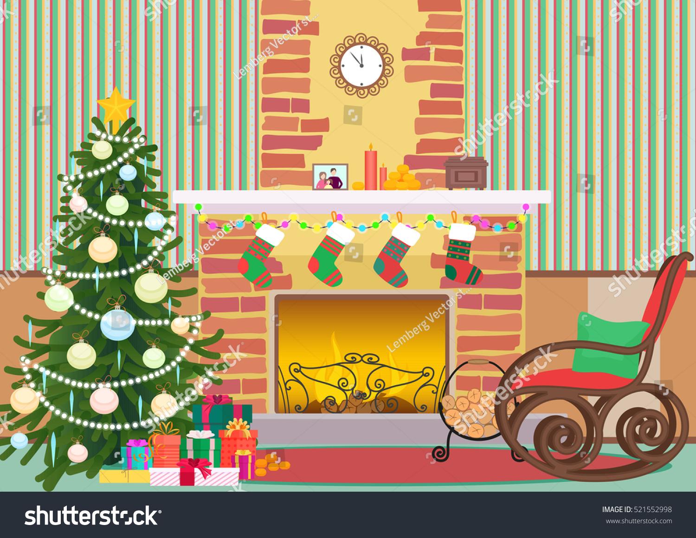 Christmas Livingroom Flat Interior Vector Illustration Stock Vector ...