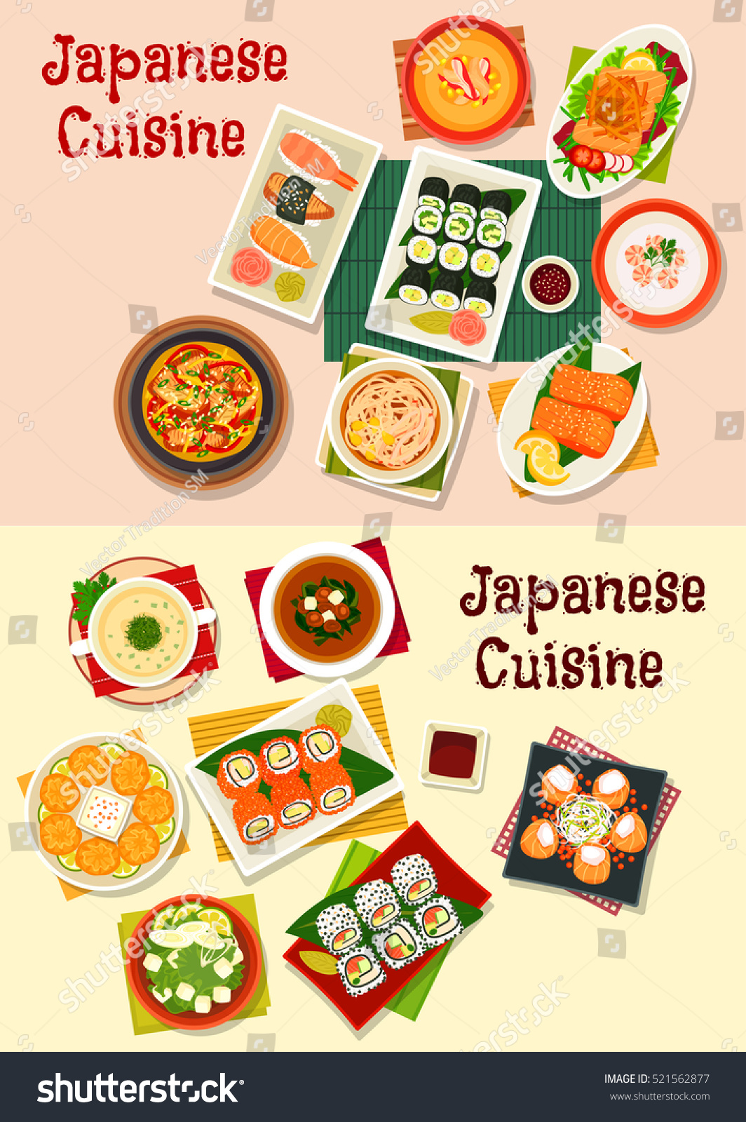 Japanese cuisine dishes icon served grilled stock vector 521562877 japanese cuisine dishes icon served with grilled fish salmon roll and salad seafood biocorpaavc Gallery
