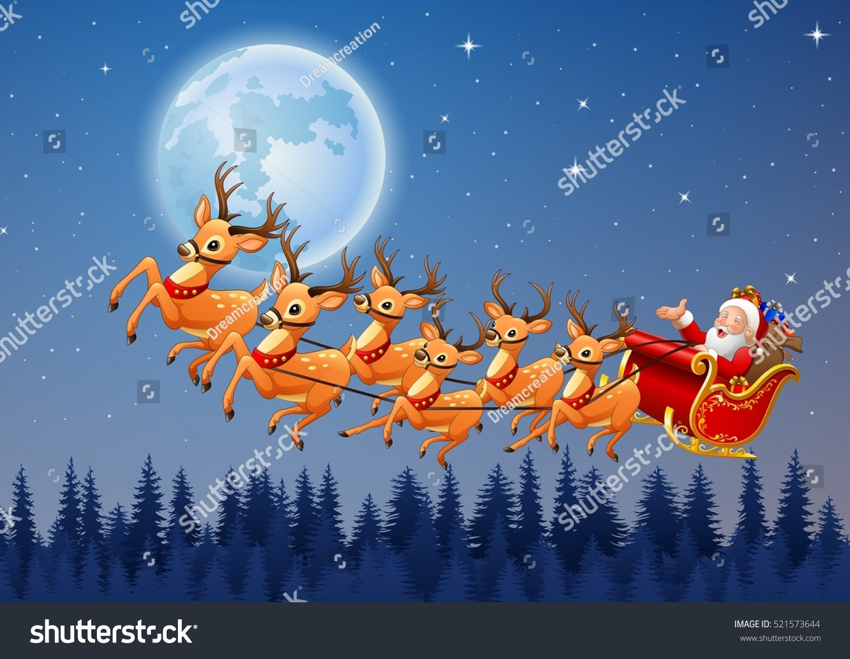 Santa Claus Rides Reindeer Sleigh Flying Stock Vector ...