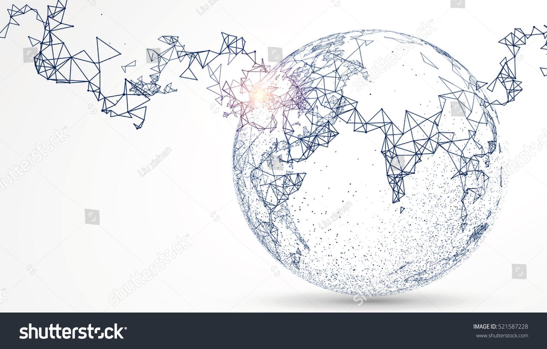 World Map Point Line Composition Representing Stock-Vektorgrafik ...
