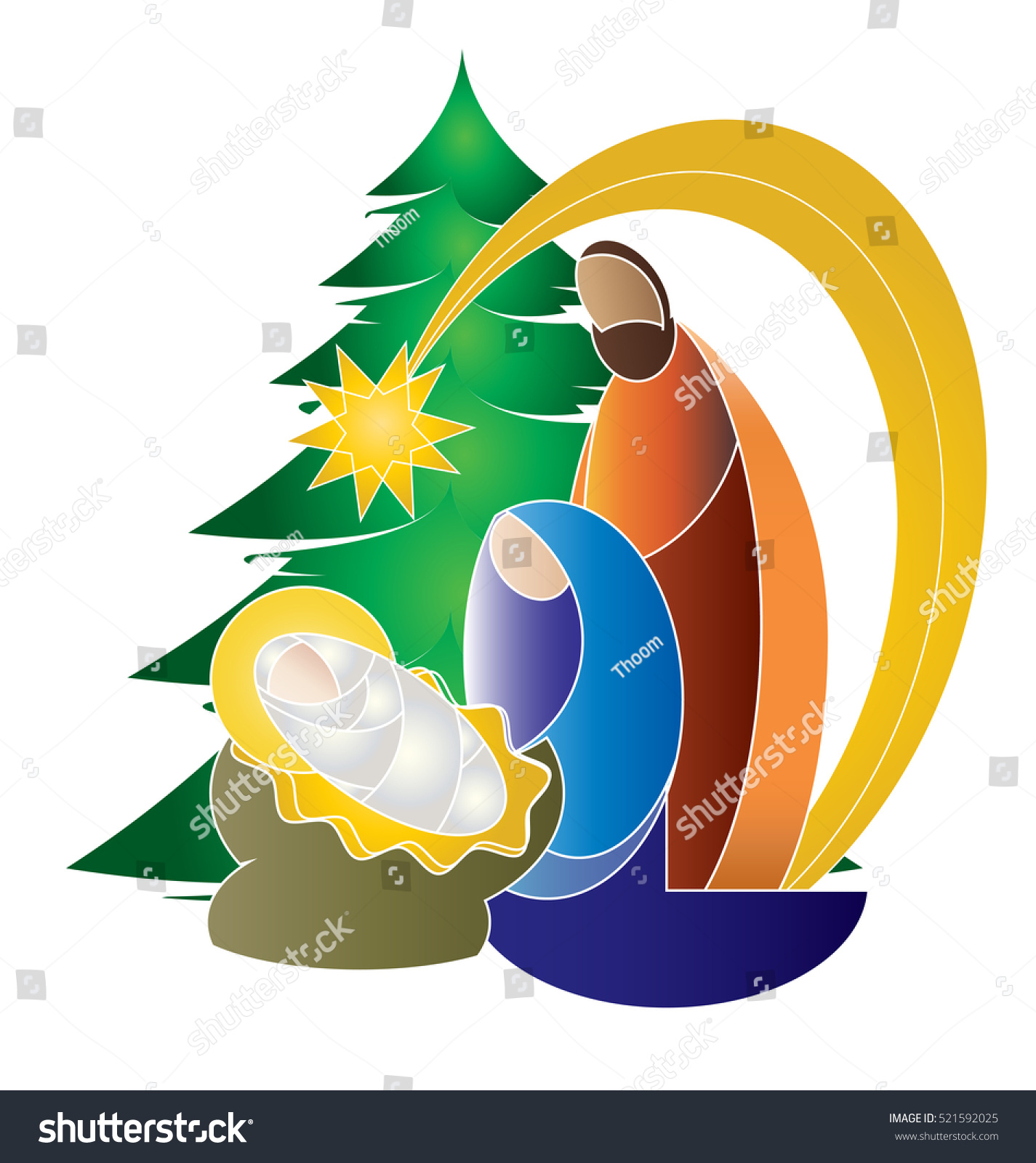 Christmas Nativity Religious Bethlehem Crib Scene Stock ...
