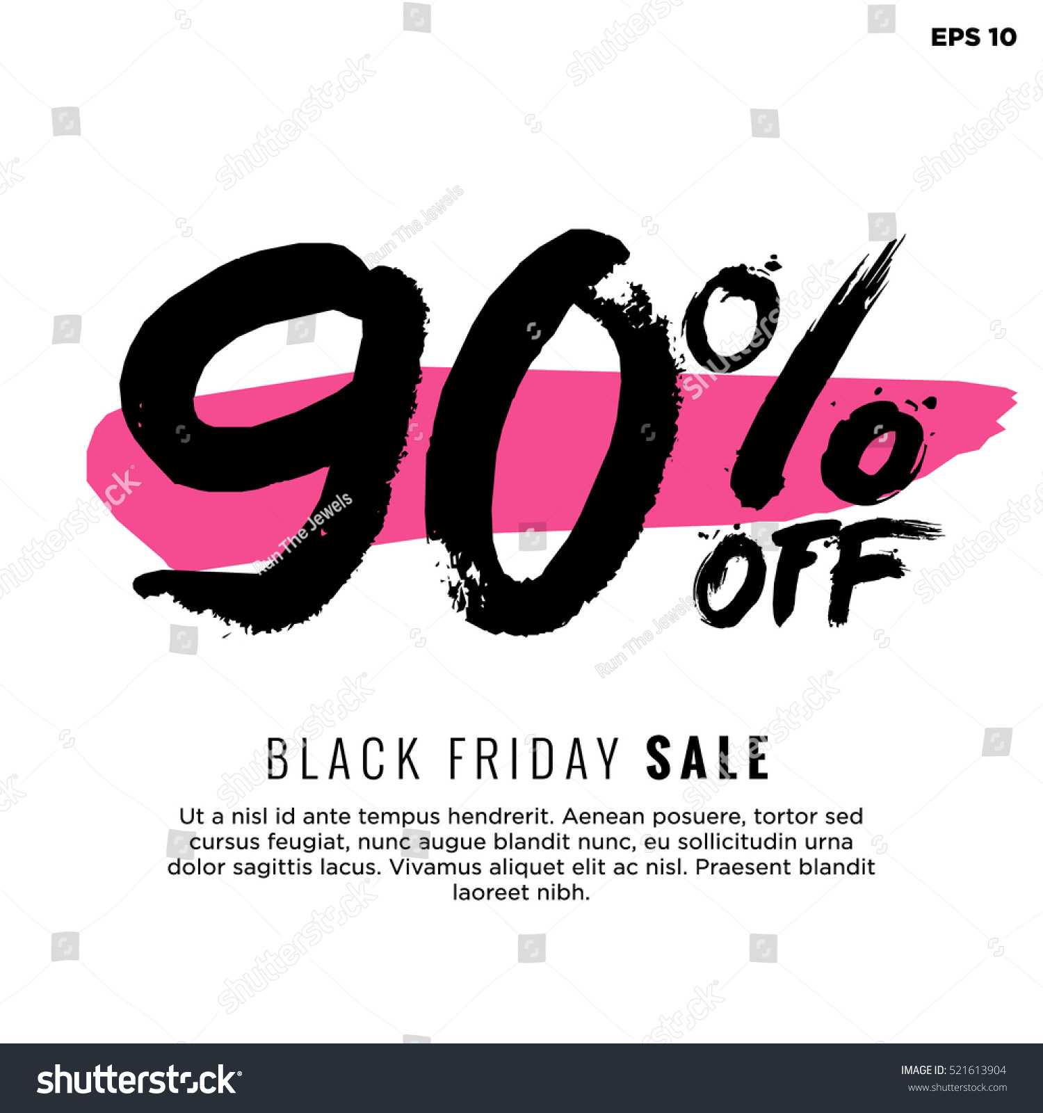 90 Off Black Friday Sale Promotional Stock Vector Royalty Free 521613904