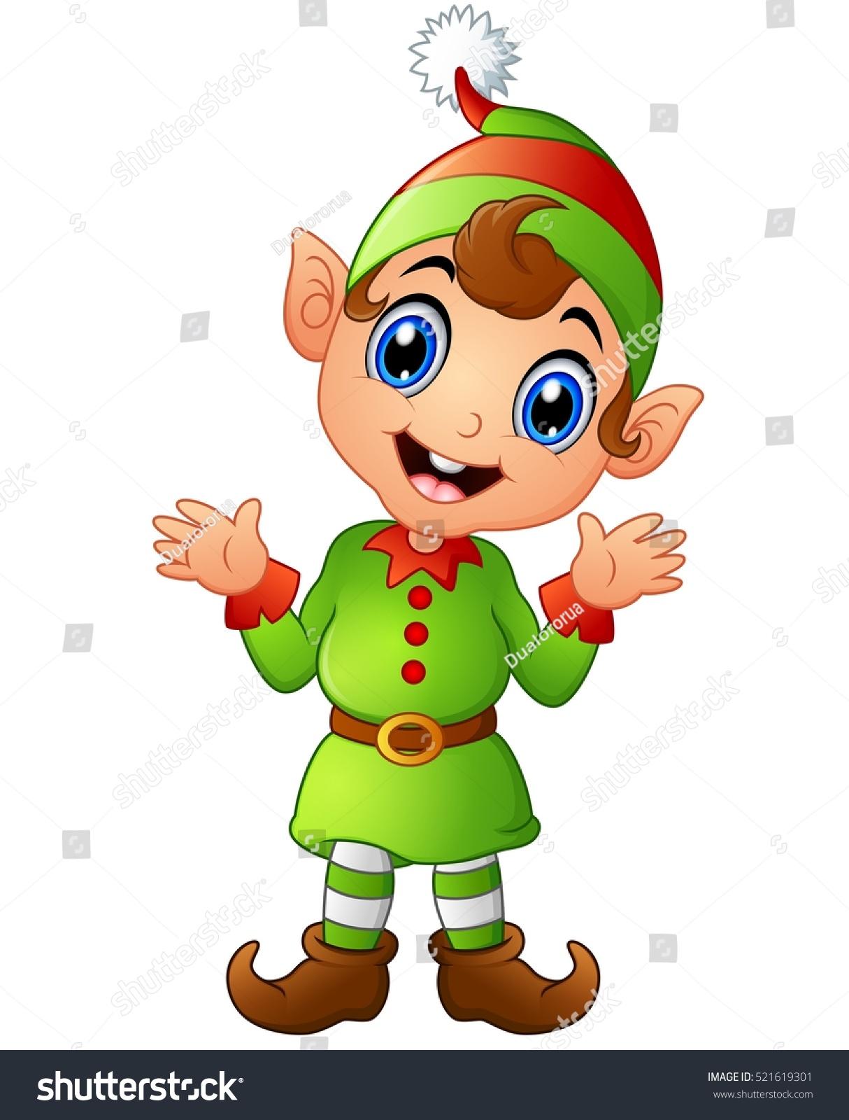 Vector illustration christmas elf cartoon stock