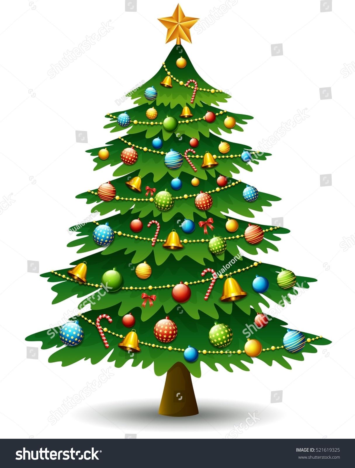 Vector illustration christmas tree on white stock