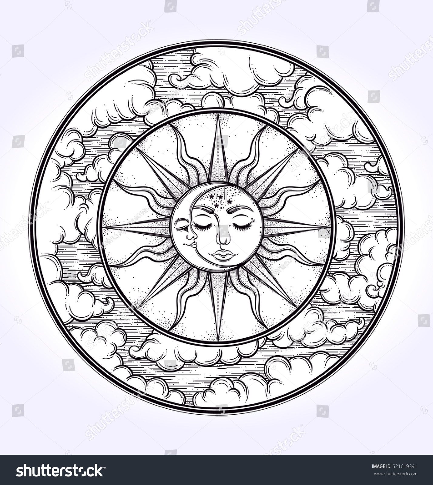 vintage elegant hand draw work of moon sun night sky moon phase vintage elegant hand draw work of moon sun night sky moon phase