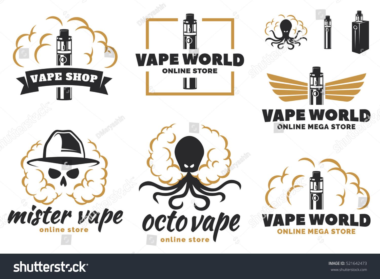Set Vape Ecigarette Logo Emblems Badges Stock Vector