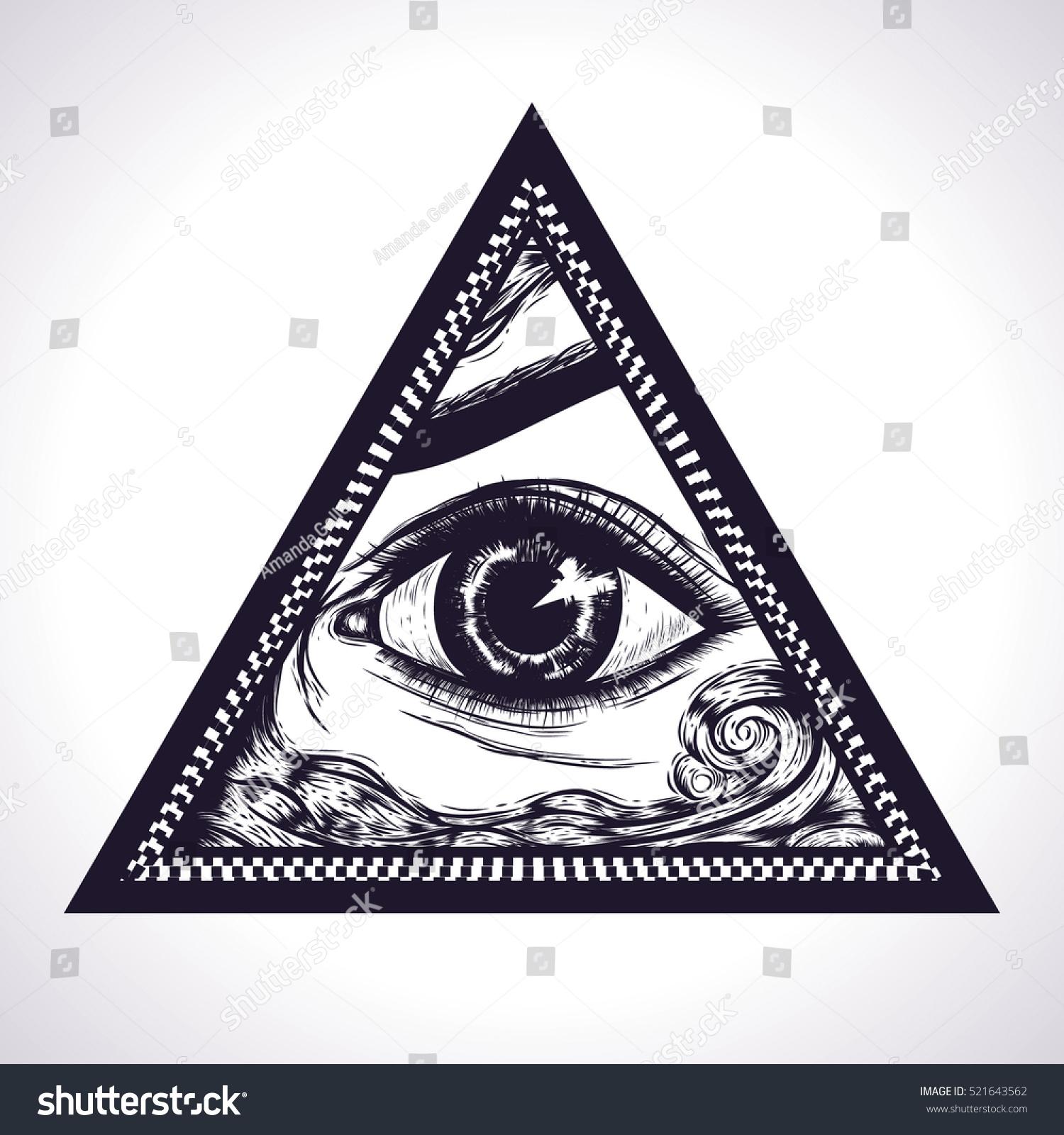 All Seeing Eye Pyramid Symbol New Stock Vector 521643562 Shutterstock