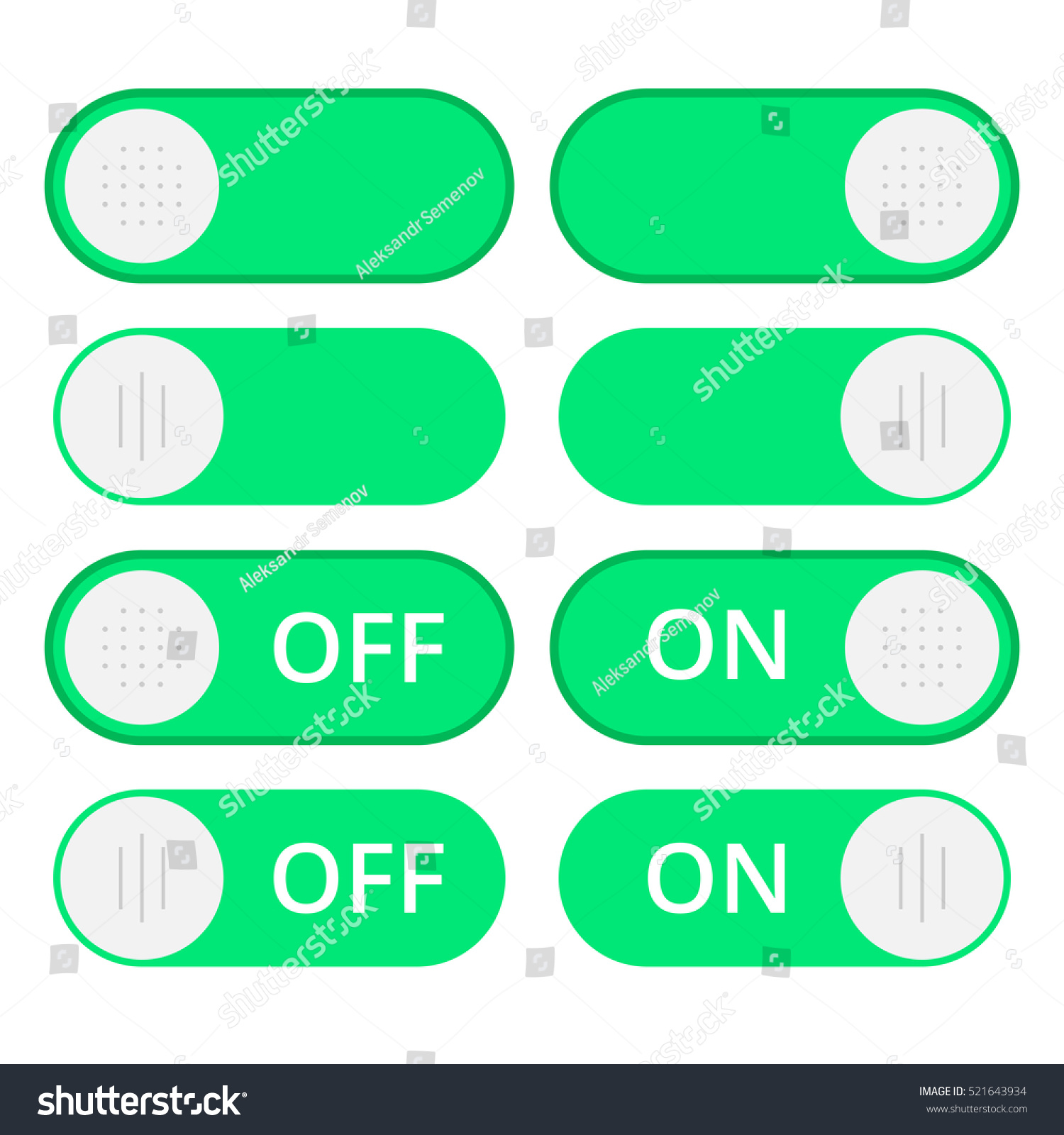 Set colorful toggle switch icons switch stock vector 521643934 set of colorful toggle switch icons switch buttons on and off position vector biocorpaavc Images