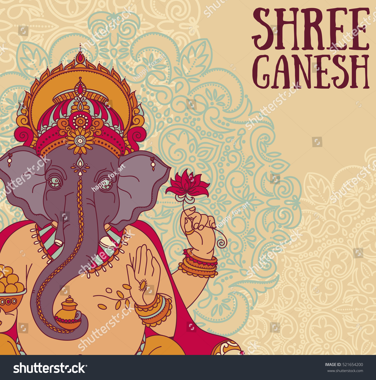 Poster with Lord Ganesha can be used as card for celebration Ganesh Chaturthi vector illustration