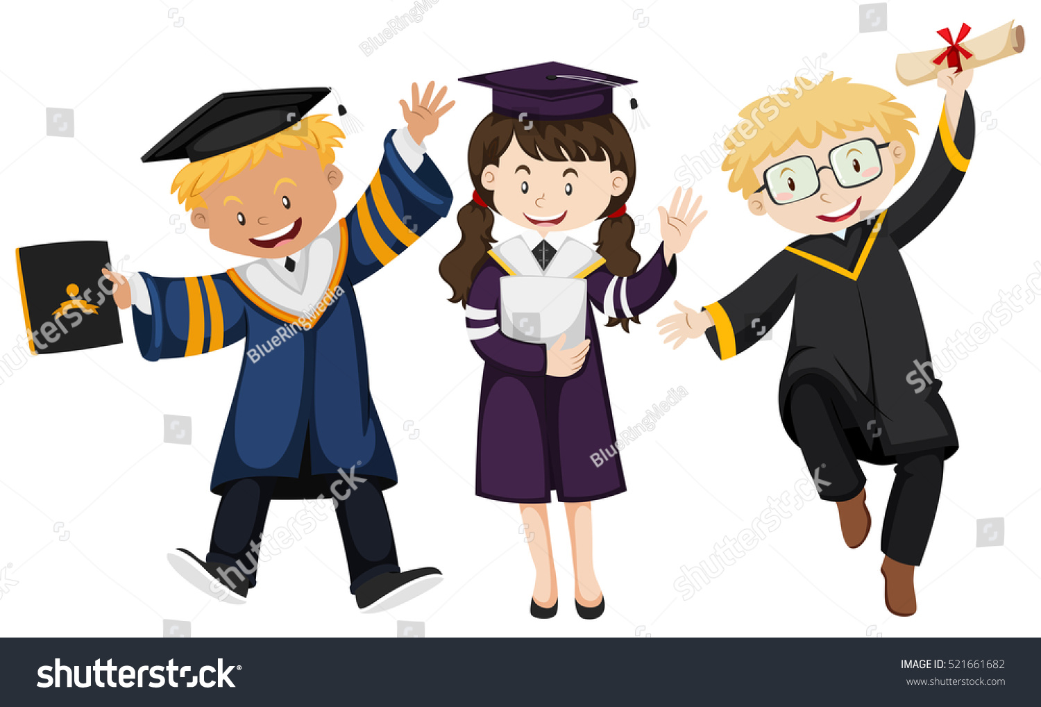Three People Graduation Gown Illustration Stock Vector (Royalty Free ...