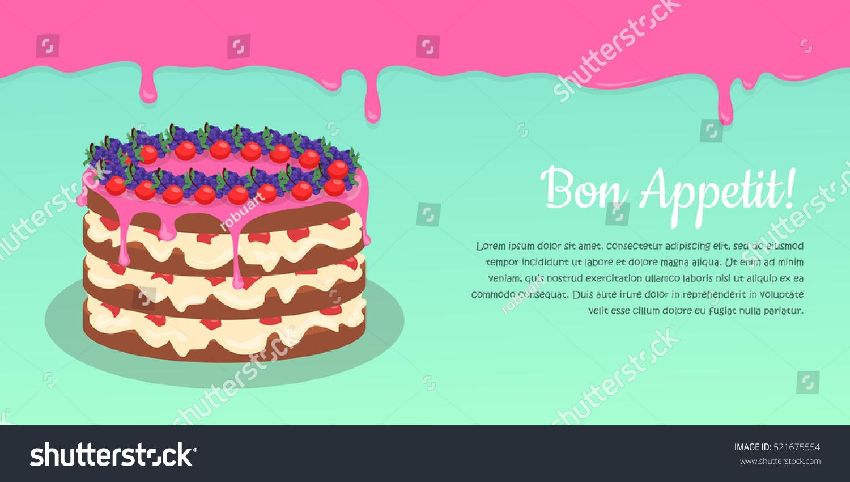 Bon Appetit Festive Cake Web Banner Stock Vector Royalty Free
