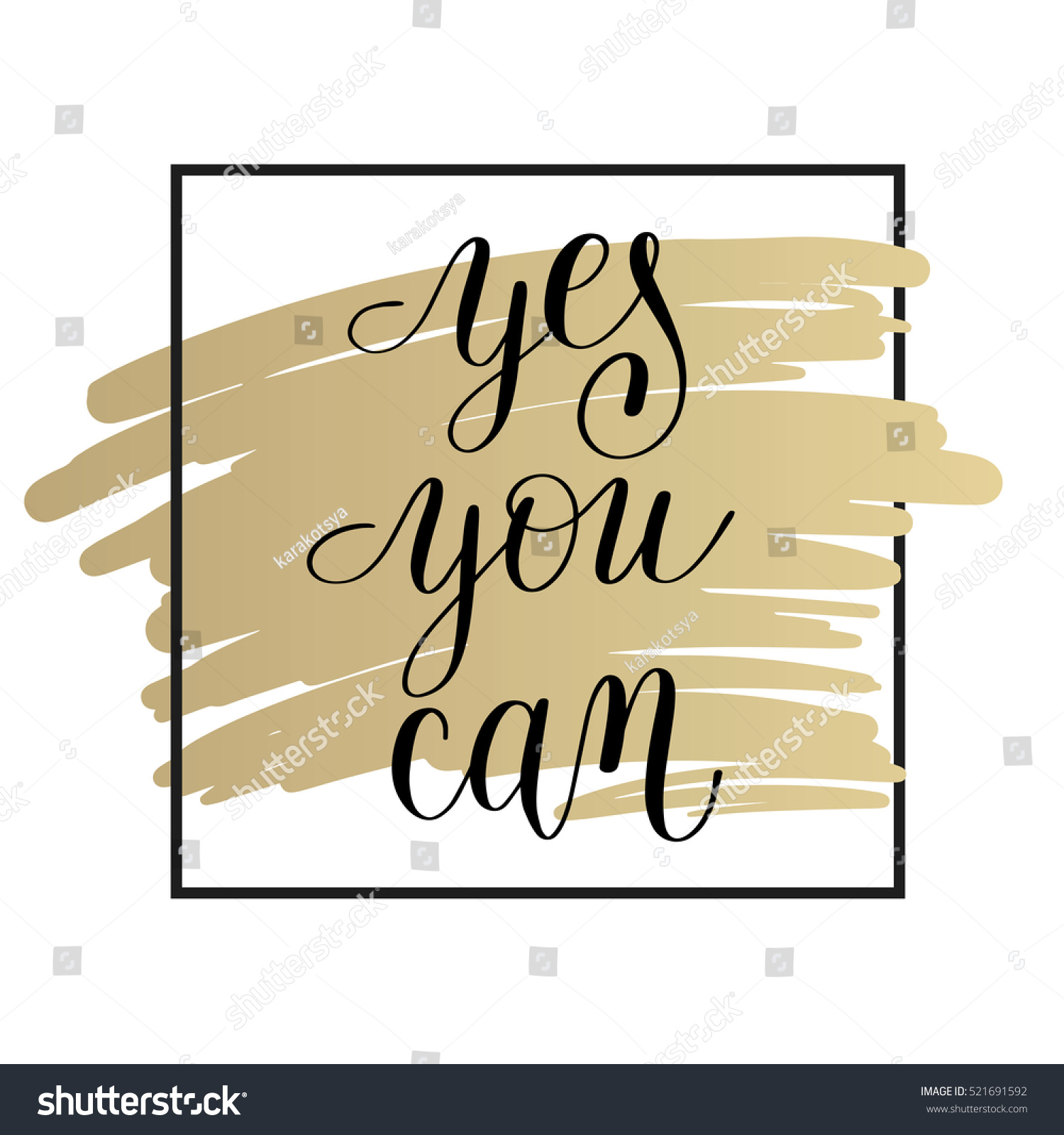 Yes You Can Handwritten Lettering Positive Stock Vector (Royalty ...