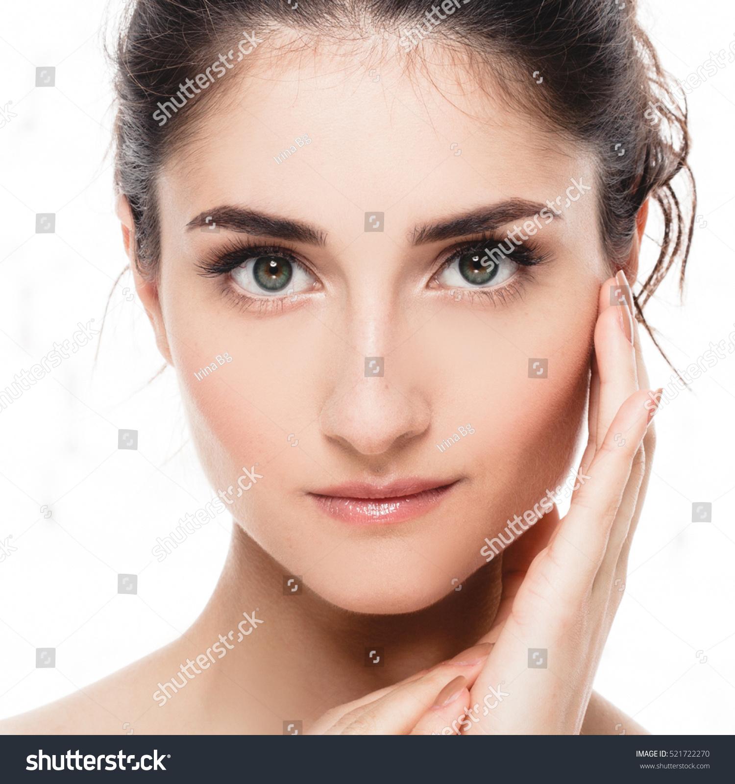 Beautiful Woman Face Portrait Beauty Skin Stock Photo ...