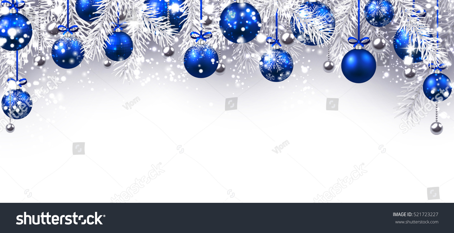 new year banner with blue christmas balls vector illustration - Blue Christmas Balls