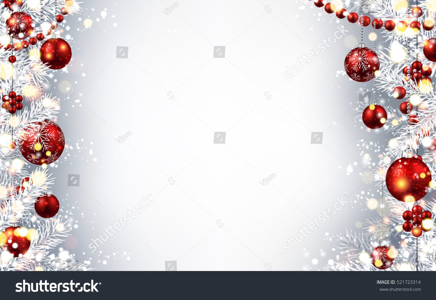 new year gray background with red christmas balls vector illustration