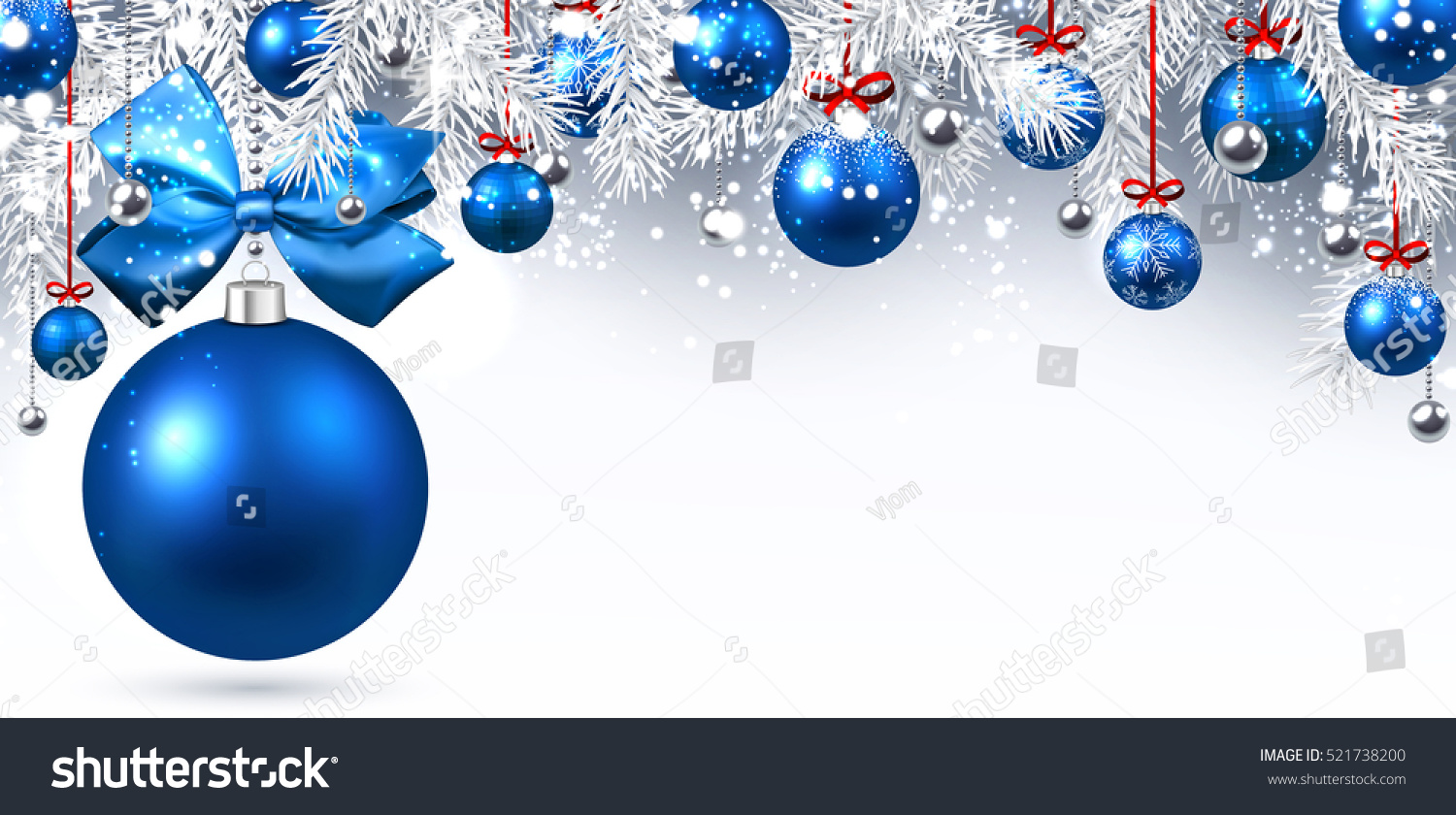 new year banner with blue christmas balls vector illustration - Christmas Blue