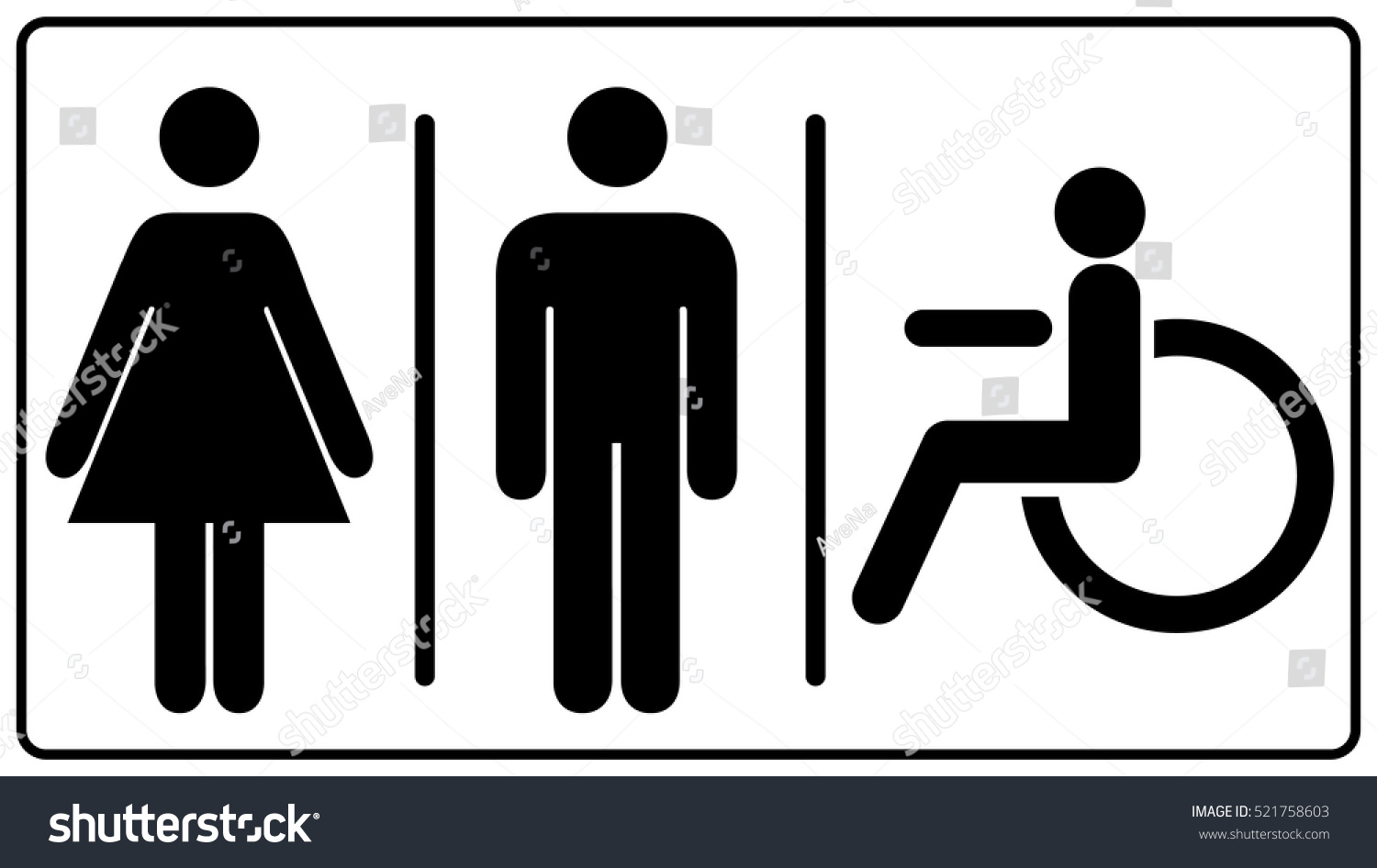 Vector Mens Womens Disabled Restroom Signage Stock Vector