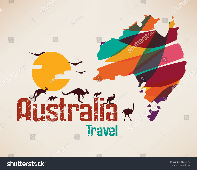 Australia Travel Map Decorative Symbol Australia Stock Vector