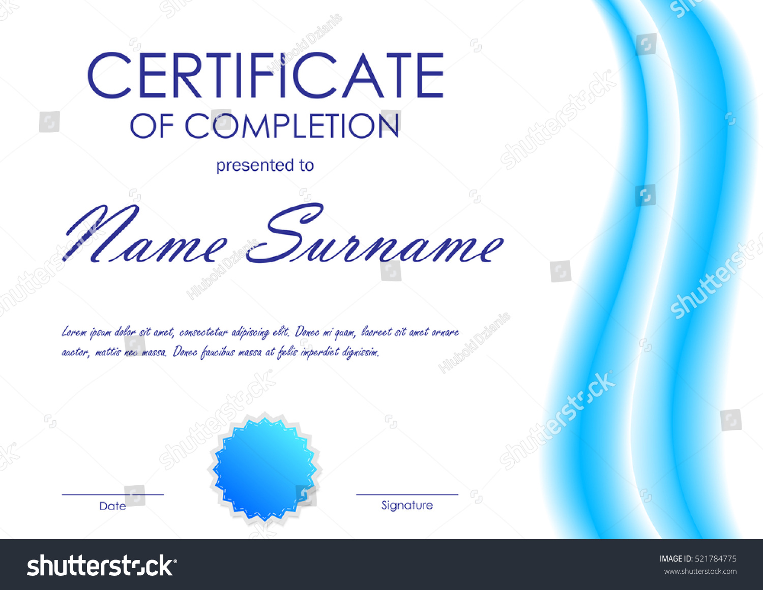 Certificate completion template blue dynamic light stock vector certificate of completion template with blue dynamic light wavy background and seal vector illustration yadclub Gallery