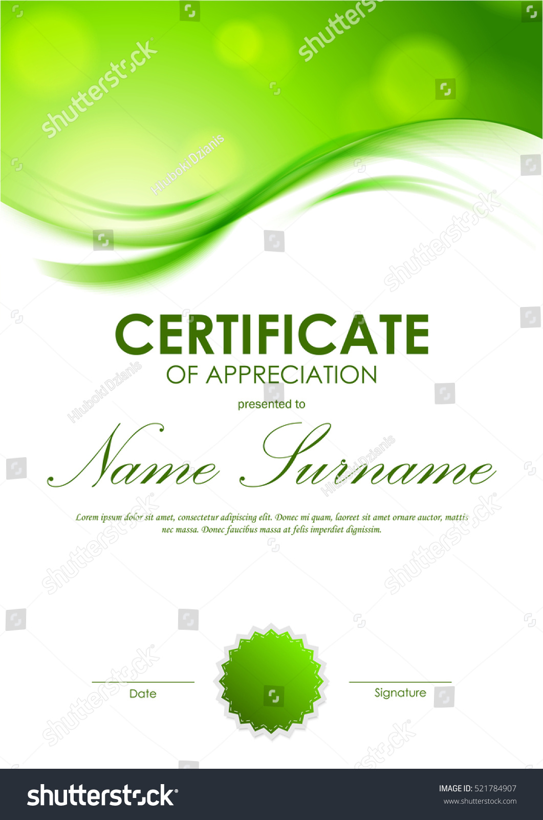 Certificate appreciation template shiny green wavy stock vector certificate of appreciation template with shiny green wavy soft background and seal vector illustration alramifo Image collections