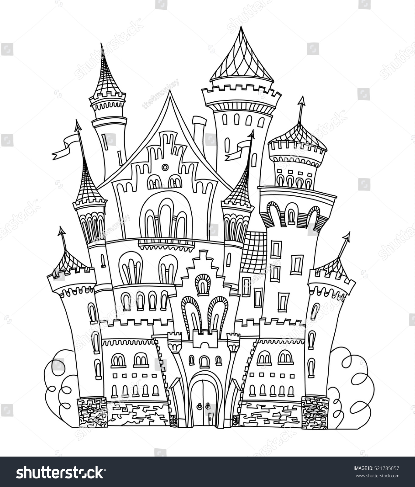 Coloring book landmark for adults - Castle Coloring Book For Adults And Children Vector Illustration Anti Stress Coloring For Adult