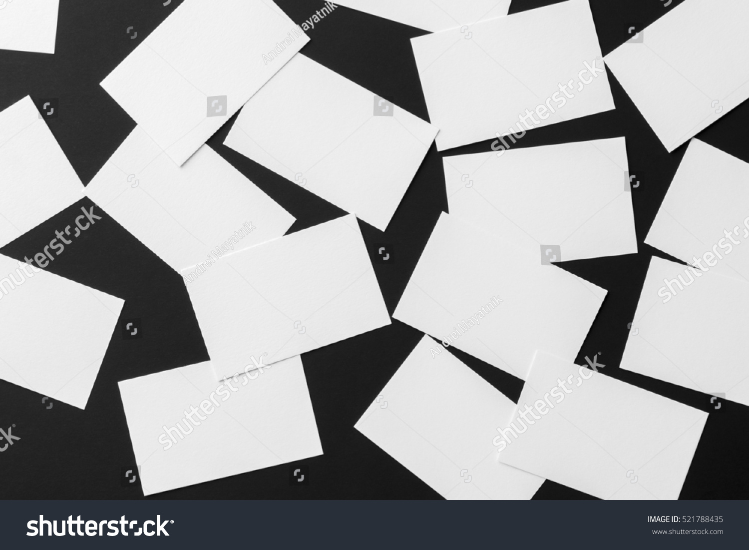 Mockup Scattered White Business Cards Stacks Stock Photo (Royalty ...