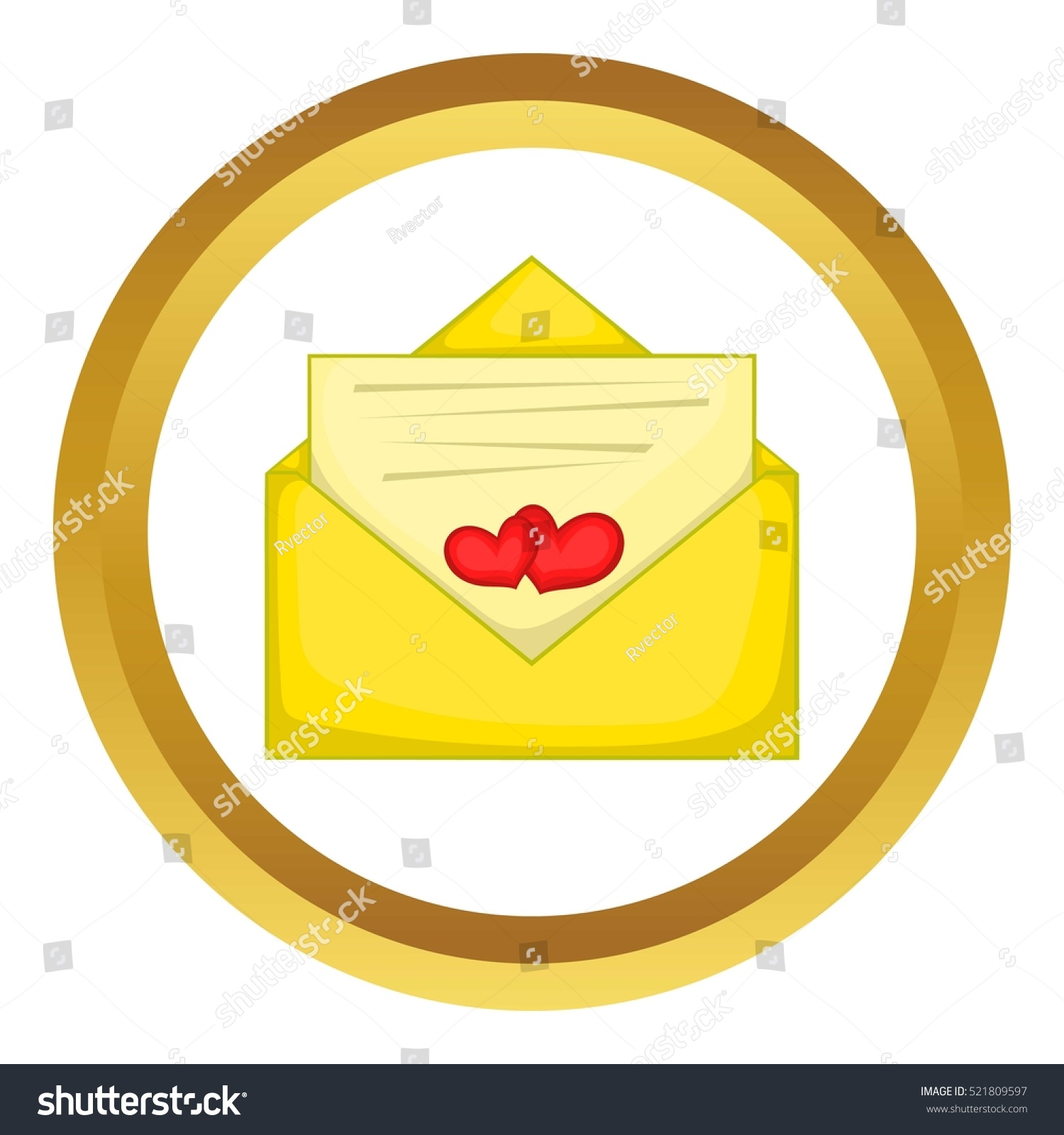 Love letter vector icon golden circle stock vector 521809597 love letter vector icon in golden circle cartoon style isolated on white background buycottarizona