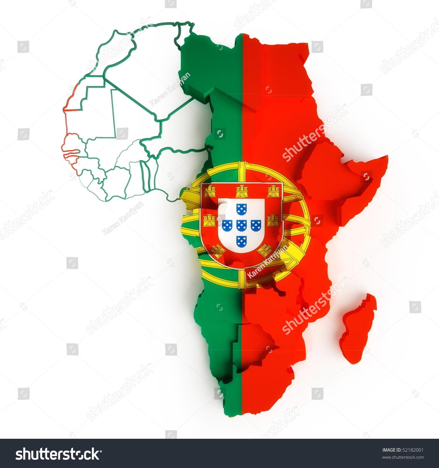 Portugal Flag On Map Africa National Stock Illustration - Portugal map flag