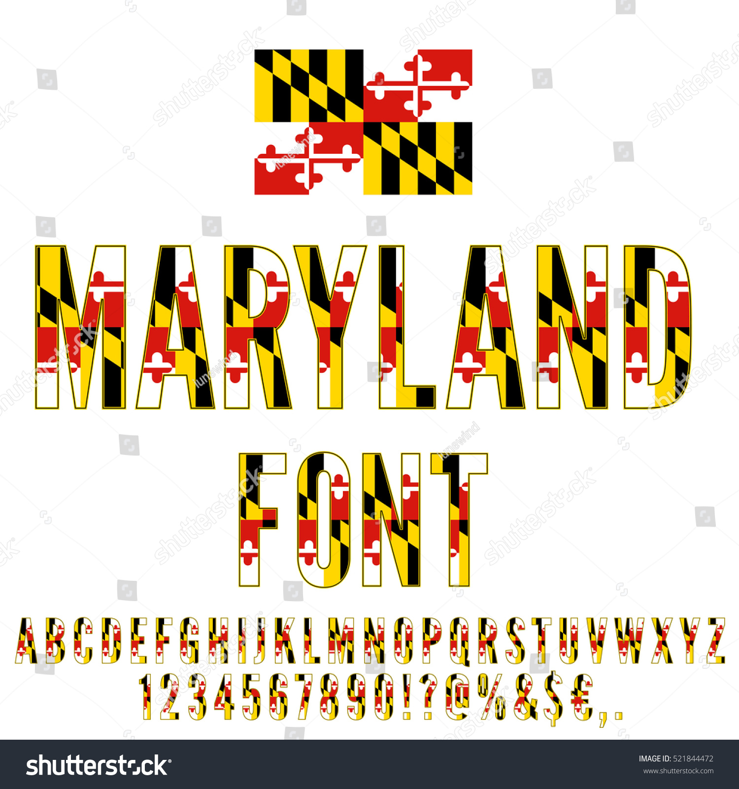 Maryland Usa State Flag Font Alphabet Stock Vector Royalty Free