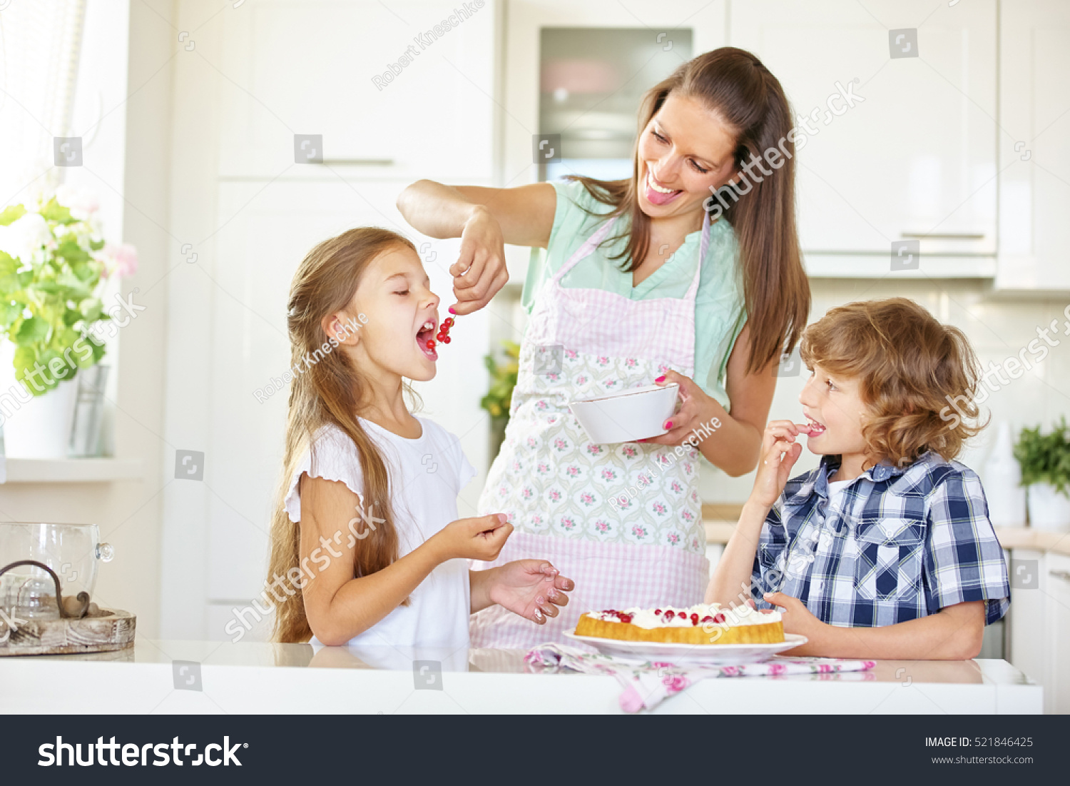 Mother Children Baking Cake Together Red Stock Photo