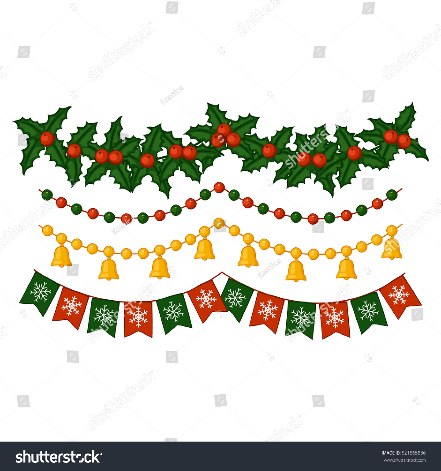Set of Christmas garlands Bells flags mistletoe beads Elements for festive decor Vector illustration