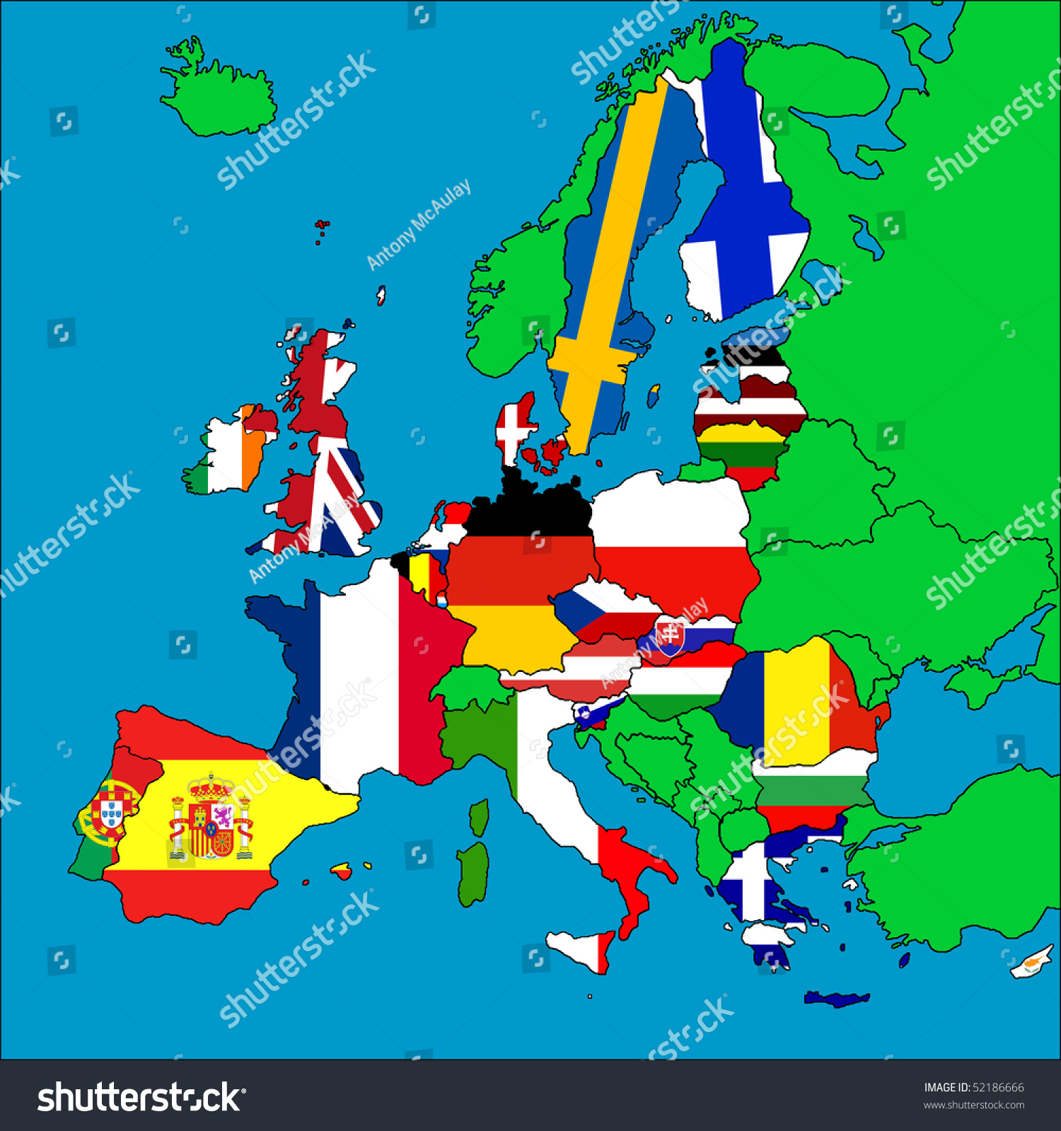 Map Europe All Eu Member Countries Illustration 52186666 – Map of All Europe