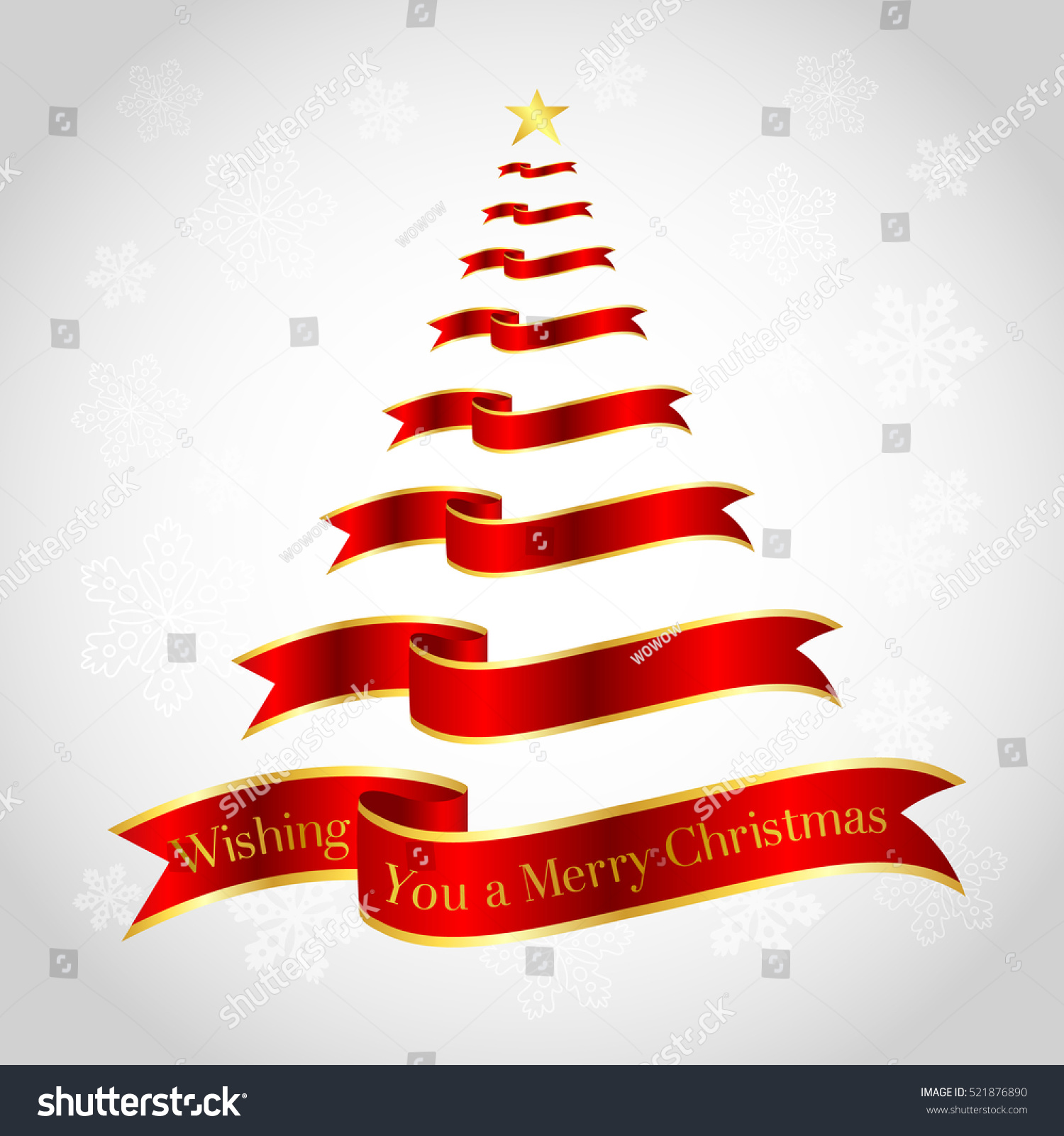Red Ribbon On Christmas Tree Shape Stock Vector (Royalty Free ...