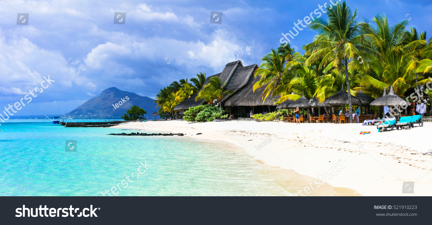 Tropical Island Beach Ambience Sound: Amazing White Beaches Mauritius Island Tropical Stock