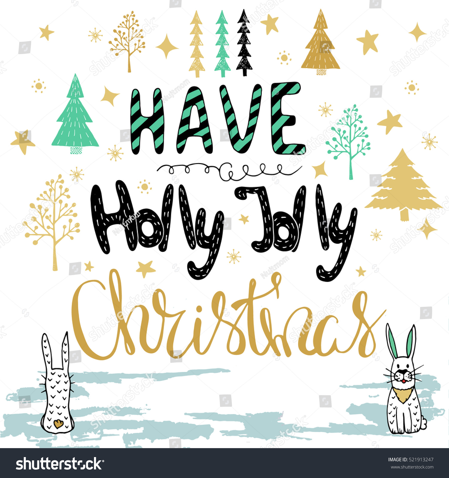 Hand Drawn Christmas Card Merry Christmas Stock Vector Royalty Free