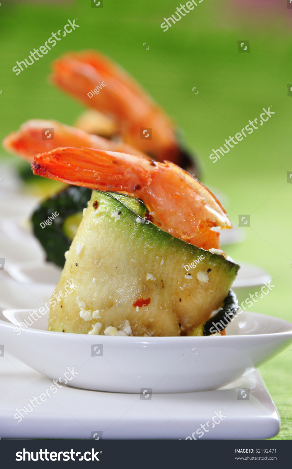 Wrapped Grilled Zucchini With Spicy Shrimp And Feta Cheese Stock Photo ...