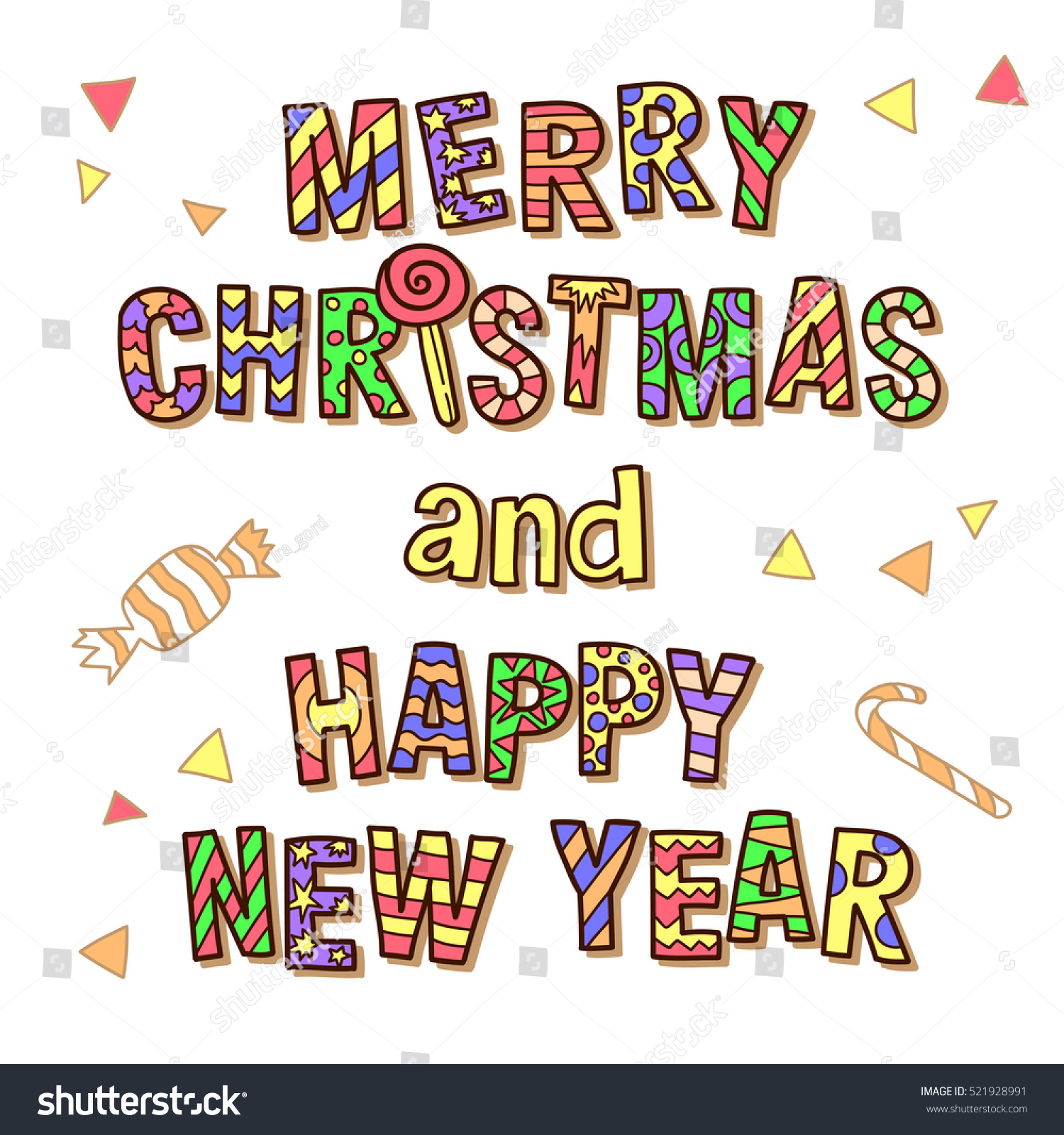 Merry Christmas Happy New Year Funny Stock Vector 521928991 ...