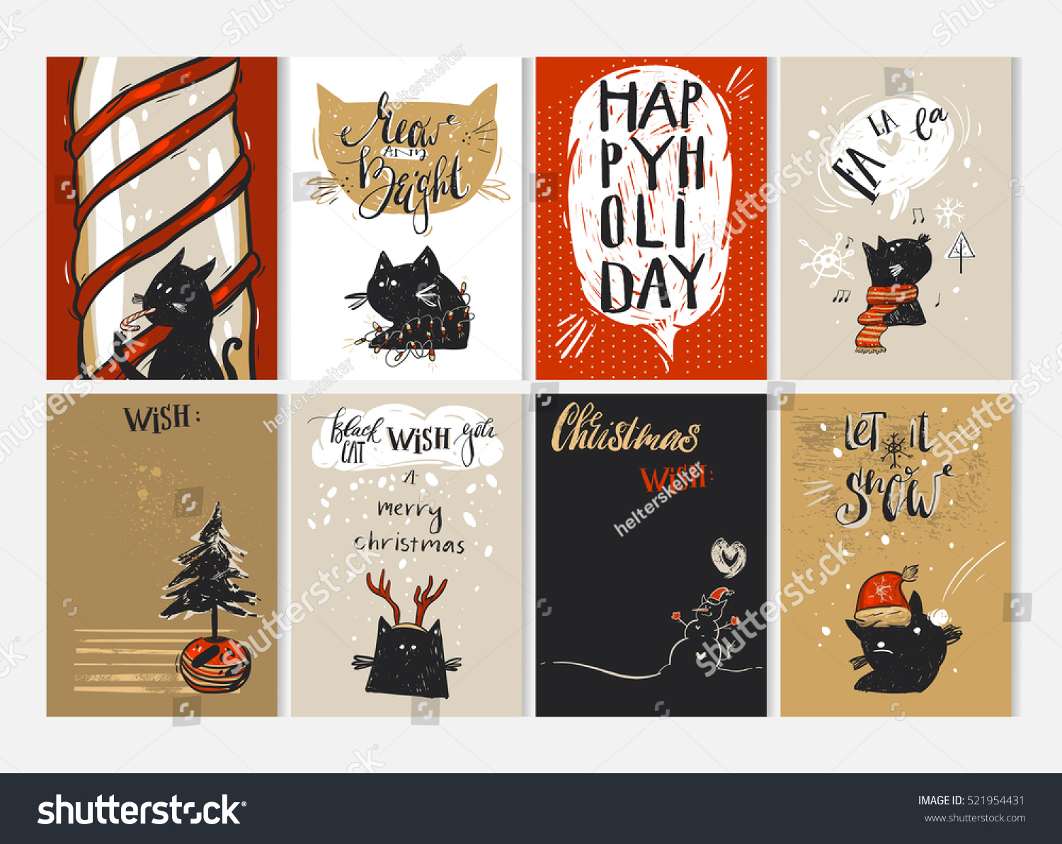 Hand Drawn Vector Merry Christmas Greeting Card Set With Cute Funny Black  Cats Characters In Winter