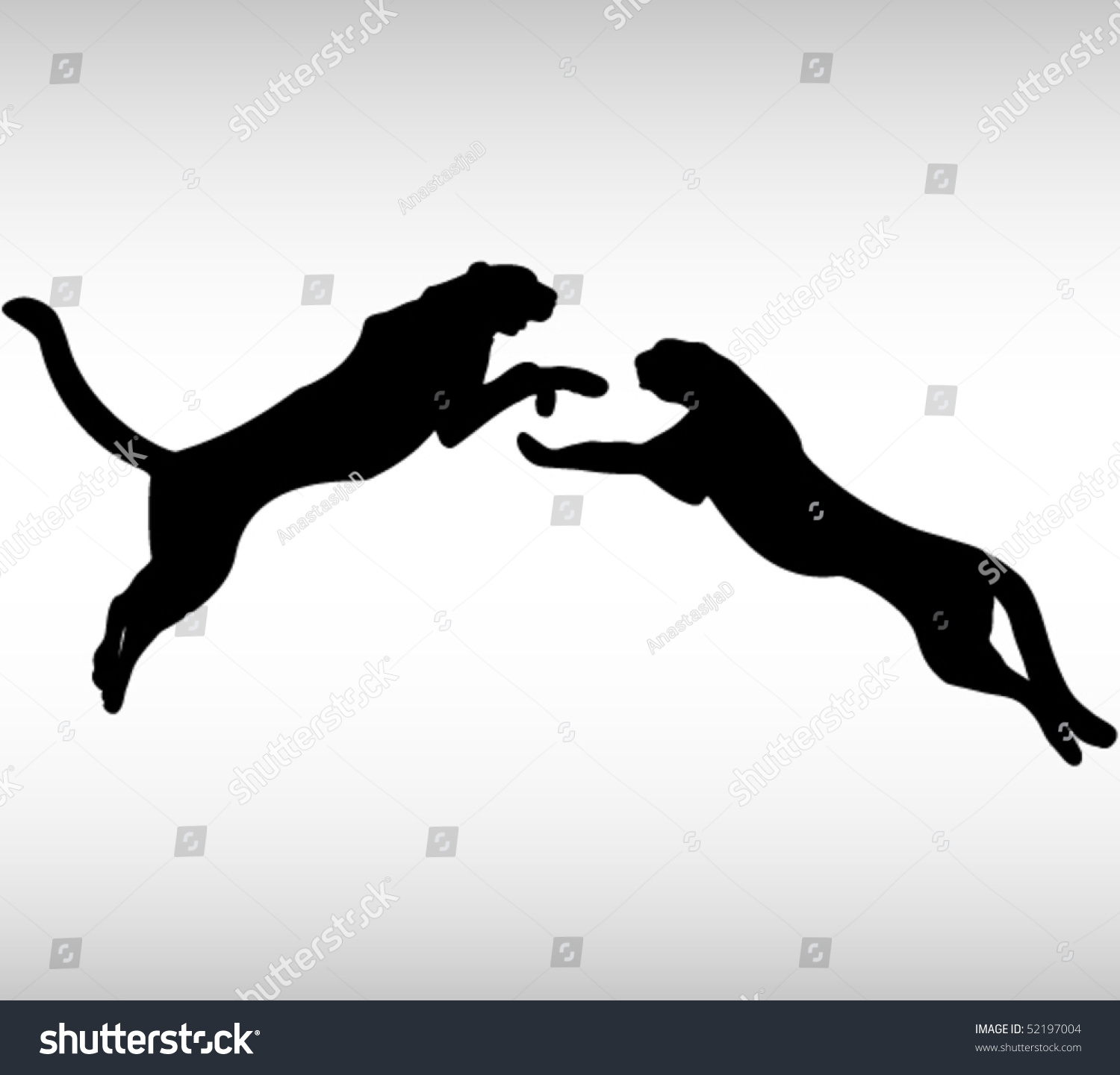 Two Black Panther Stock Vector Illustration 52197004 ...